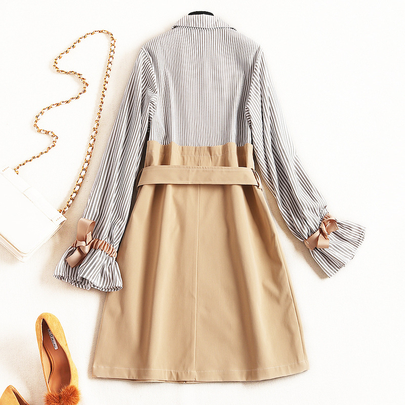Double Flare Arc Manches Apricot Z318 Courtes Haute down Robes Long Qualité Breasted Rayé Turn Femmes Mode Col TWzp7wqOa