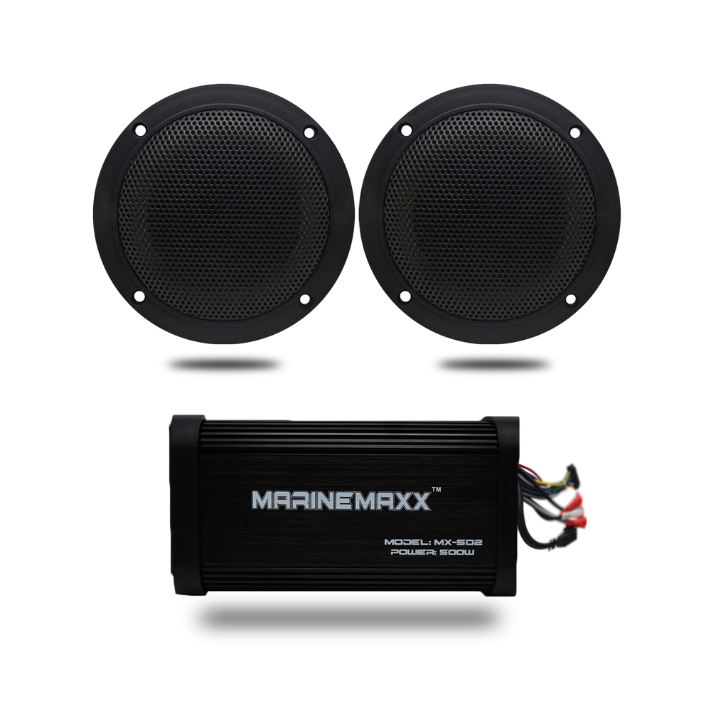 4 Channel 500Watts Marine Bluetooth Motorcycle Audio Amplifier Boat USB MP3 Stereo +4 Marine Waterproof Wall Mount Speakers