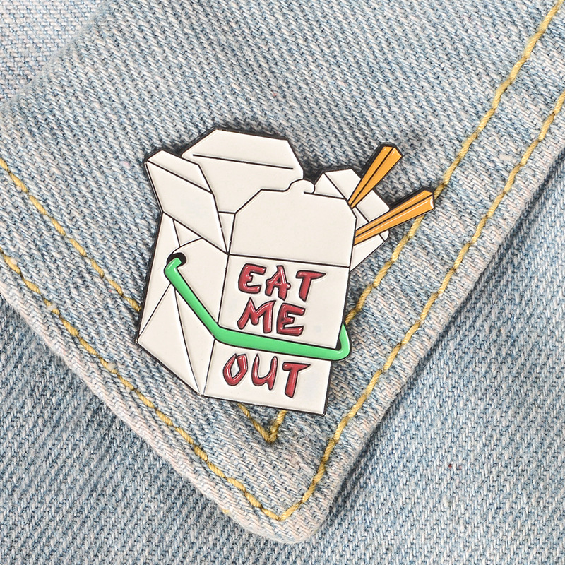 Badges Eat Me Out Enamel Lapel Pin Take Out Fast Food Funny Brooches For Cloth Bag Jewelry Accessory To Invigorate Health Effectively