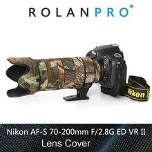 ROLANPRO עדשת הסוואה מעיל גשם כיסוי עבור Nikkor Nikon AF S 70 200mm f/2.8G ED VR השני עדשת מגן מקרה רובים בגדים
