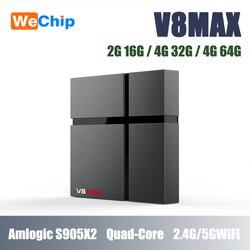 Wechip V8 MAX Android 8.1 tv  pudełko Amgolic S905X2 czterordzeniowy 4G32G Set Top Box 4K HD IPTV 1 rok suscription odtwarzacz multimedialny