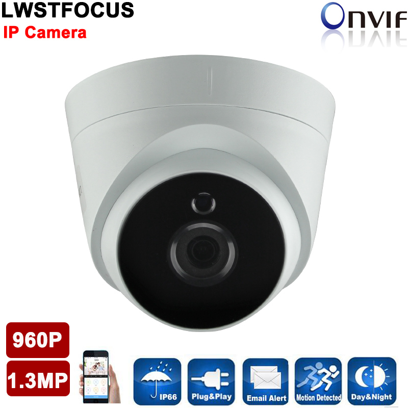 ФОТО 960P Network camera Big Array LED Plastic IR Dome Camera 20M IR Distance 1.3MP IP Camera HD 960P CCTV Dome Camera Indoor IP Cam
