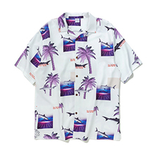 HFNF hip hop streetwear men Hawaiian Printed Floral summer floral rapper beach shirts Harajuku Leisure