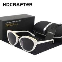 HDCRAFTER New Fashion Cat Eye Sunglasses Women White Frame Gradient Polarized Sun Glasses Driving UV400 Eyewear