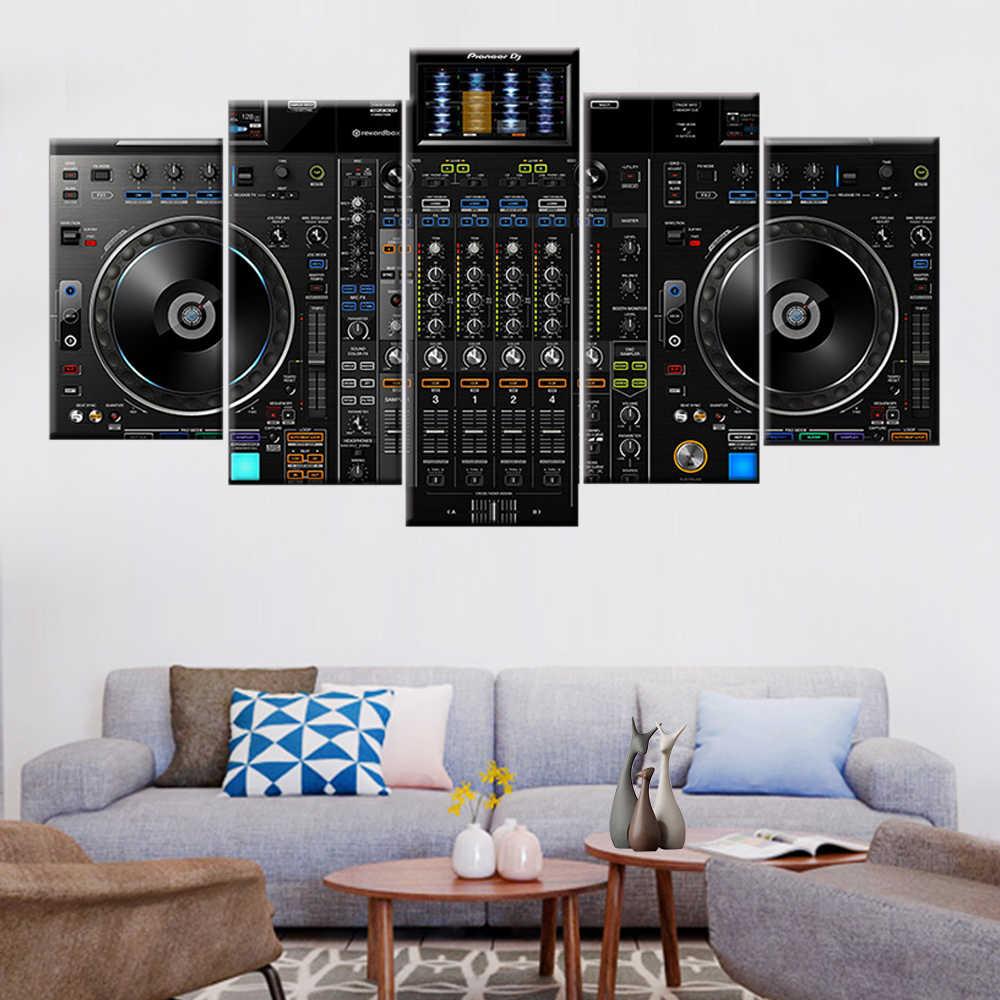 Leinwand malerei 5 stück DJ musik player malerei musik konsole poster modulare wohnzimmer hause dekoration wand kunst