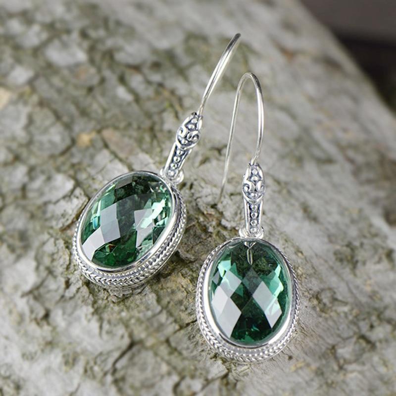 L&P Women Vintage Green Crystal Dangle Earrings 925 Sterling Sliver Handmade Dangle Earrings Jewelry Girl Gifts leopard feather dangle earrings