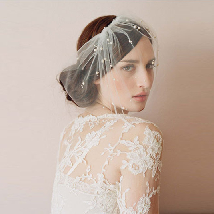 New Arrival Bridal Net Pearls Hats White Hat Veil Bridal Flower Feathers Fascinator Bride Face Veils Wedding Bride Hats