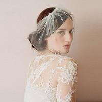 8422561481 New Arrival Bridal Net Pearls Hats White Hat Veil Bridal Flower Feathers  Fascinator Bride Face Veils