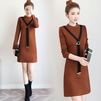 P Ammy Fleece Plus Size Lace Stitching Warm Jumper Dress Winter Fashion Long Sleeve Stand A Line Loose Tunic
