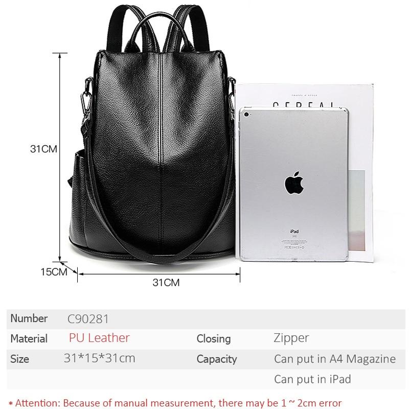 Image 3 - POMELOS, женский рюкзак, высокое качество, мягкий, из искусственной кожи, Противоугонный рюкзак для женщин, водонепроницаемый рюкзак для женщин, уличный стиль, рюкзак-in Рюкзаки from Багаж и сумки