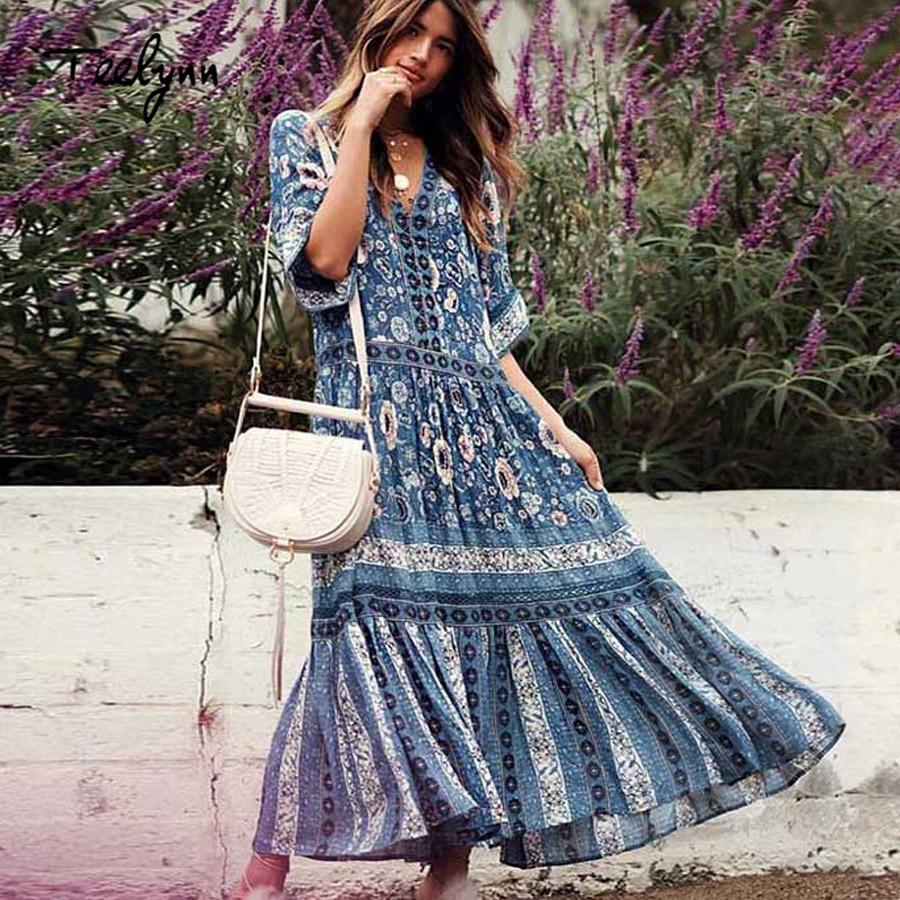 TEELYNN boho Vestito blu stampa floreale sexy scollo a v Abiti estivi vita libera di vacanza Della Boemia rayon vestito lungo delle donne 2018 vestido