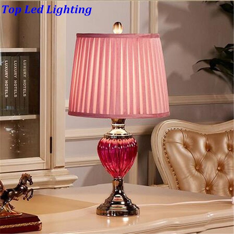 Romantic Fashion Pink Glass Fabric Wedding Decor Table Lamp for ...