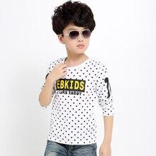 2016 autumn new children's clothing boy big virgin dot long sleeve T-shirt bottoming shirt fashion boys clothing US Size