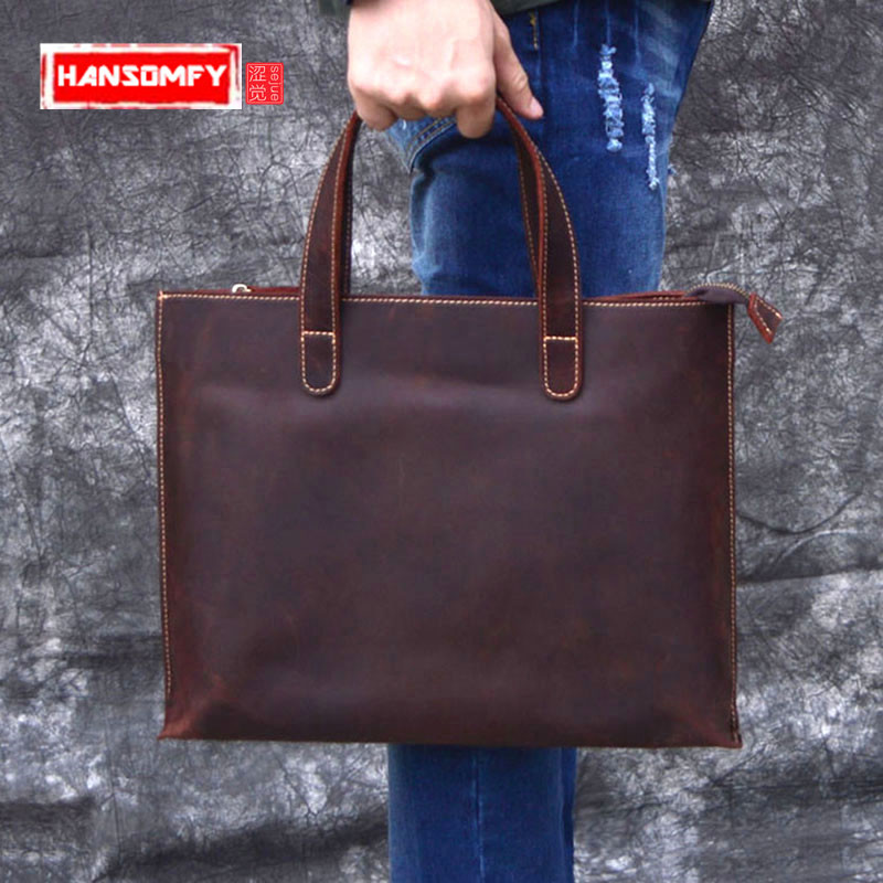 2019 Vintage Crazy Horse Leather Men's Briefcase Male Messenger Shoulder Bags Brown Leather Laptop Crossbody Bag Office Handbags