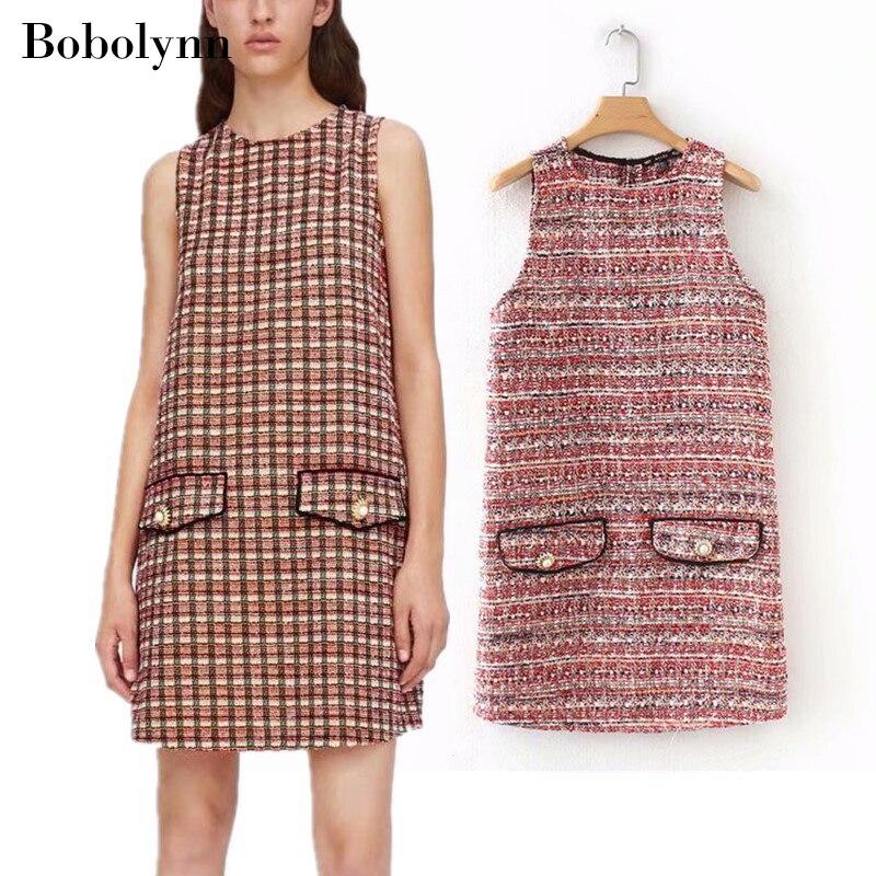 e55c90559bc1 Autumn Vintage Plaid Tweed Knitted T-shirt Dress Elegant Korean Streetwear Casual  Dresses