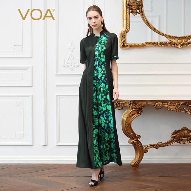 815919bddcf8 VOA Heavy Silk Slim Jumpsuits Women Plus Size 5XL Wide Leg Long Jumpsuit  Green Print Boho Summer Tunic Short Sleeve Fashion K357