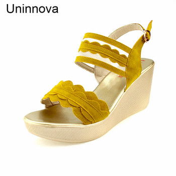 Uninnova Ruffle Slingback Wedge Heels Platform Flat Sandals High Heeled Sandals Extral Small Size Plus Size 33-43 WSA024
