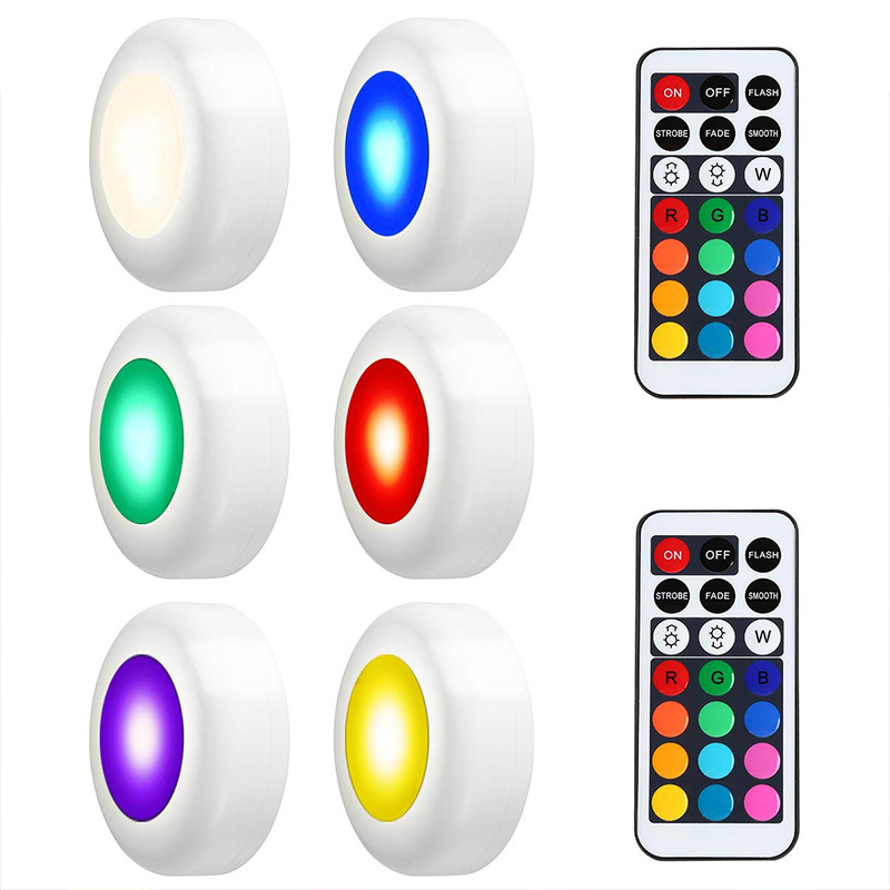 Wireless LED Under Cabinet Light Dimmable Touch Sensor RGB LED Puck Lights For Cupboard Wardrobe Stair Closet Hallway Night Lamp