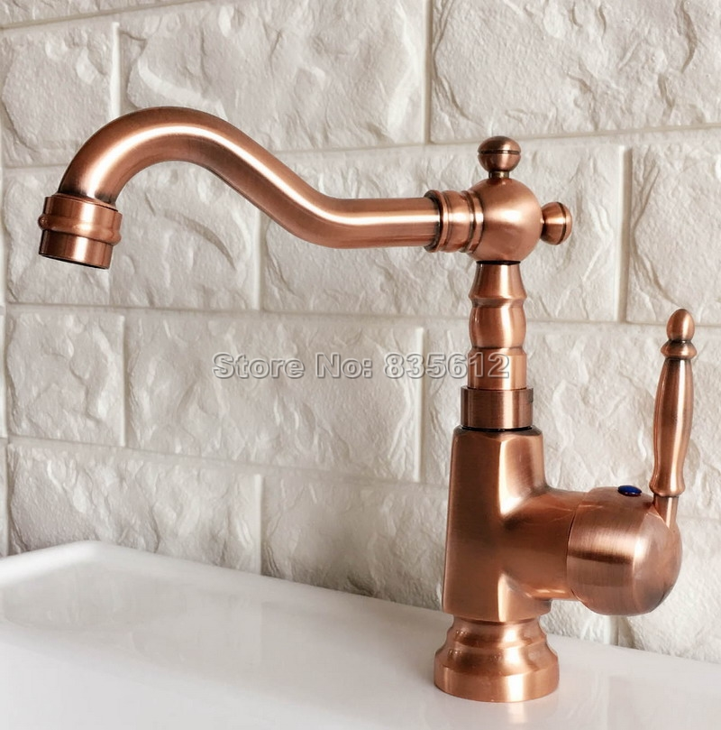 Red Copper Swivel Spout Bathroom Faucet Wash Basin Mixer Sink Faucets Deck Mount Single Lever Cold & Hot Water Mixer Taps Wnf397 copper bathroom shelf basket soap dish copper storage holder silver