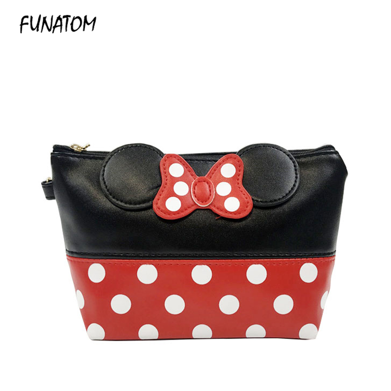 Travel Cosmetic Bag Mickey Makeup Case Women Zipper Hand Holding Make Up Handbag Organizer Storage Pouch Toiletry Wash Bags