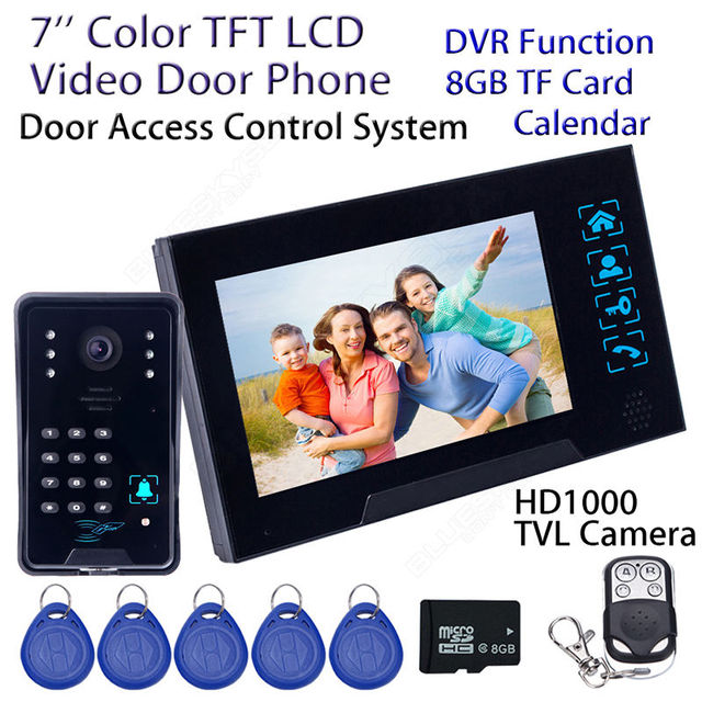 "Free shipping!7"" WD02SRR11 Wired Doorbell HD Camera Monitor Intercom DVR 8GB ID Card Door Phone Home Security"