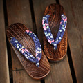 Women's Summer Flip Flops Butterfly Prints Med Heel Carboned Color Wood Sandals Classic Japan Geta Beach Slippers Cosplay Shoes