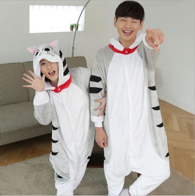 Кошка Животное Одна деталь Для женщин пижамы белье Ночная Пижама домашняя  одежда пижамы кигуруми халат нижнее 66fce7d59ab90