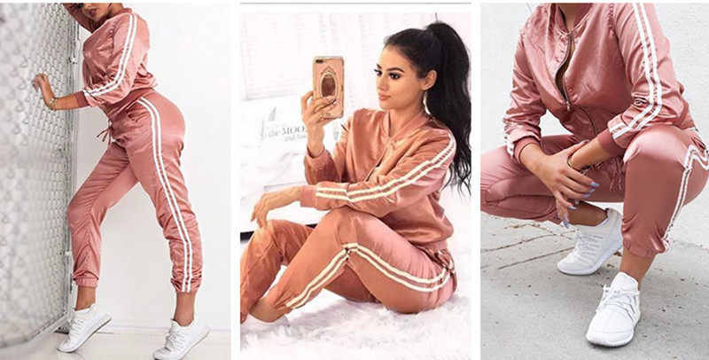 BOOFEENAA Fall 19 Casaul Tracksuit Women 2 Piece Set Top And Pants Satin Striped Patchwork Zipper Sexy Sweatshirt Sweat Suit 12