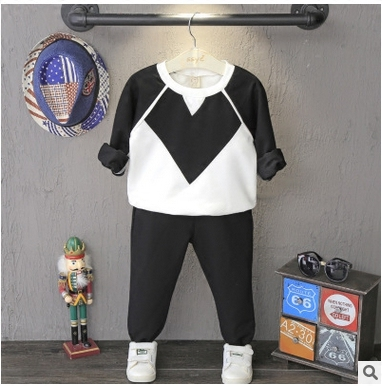 Children suit black white sweater pants for boys two clothes and trousers