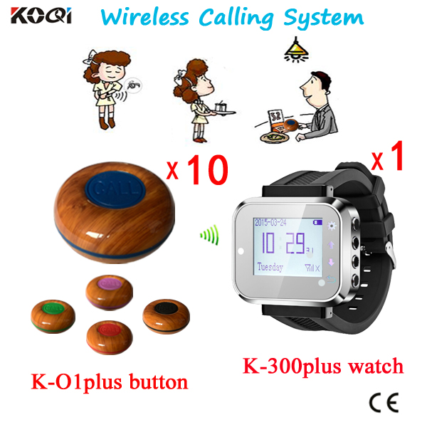 Restaurant Pager Waiter Call Button System Wireless Set Of 1pc Wrist Watch+10pcs Call Buttons