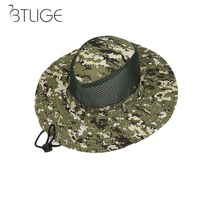 Dongzhur Army Style Boonie Bush Jungle Hat Sun Fishing Cap Breathable Men  Womens Cotton Mesh Camouflage Military Sun Bucket Hat a324962bab