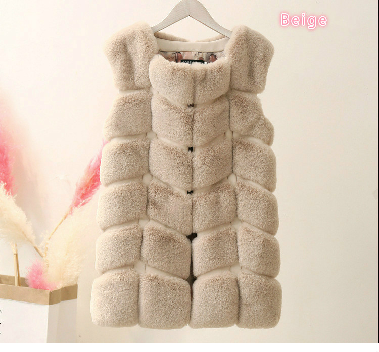 Высококачественная меховая жилетка, роскошное пальто из искусственного лисьего меха, теплое Женское пальто, жилетки, Зимняя мода, меховые женские пальто, куртка, жилетка, жилет, 4XL - Цвет: beige