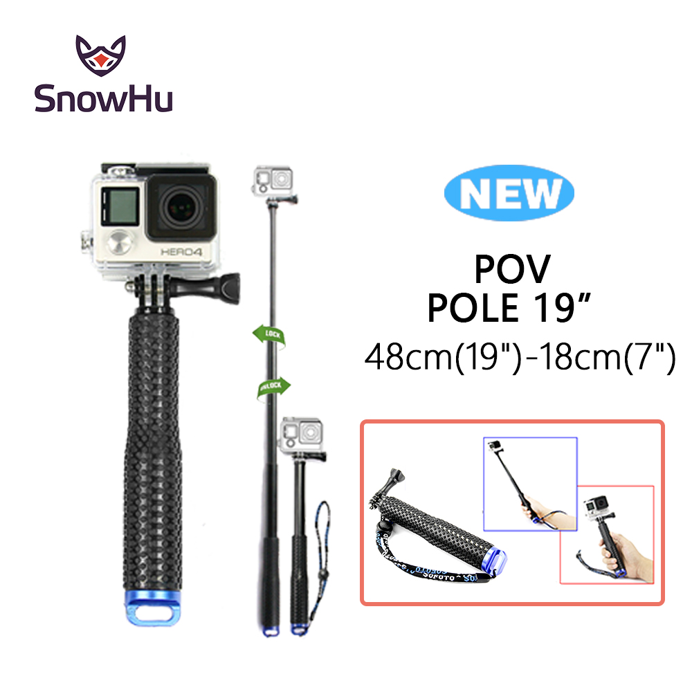 SnowHu for GoPro 7 6 5 Aluminum Extendable Pole Selfie Stick Monopod Tripod Mount for GoPro Hero 7 6 5 4 for Xiaomi for Yi GP180 unfolded 480mm pole extendable waterproof tripod selfie stick handheld monopod dive for gopro hero 4 3 3 2 sj4000 for xiao yi