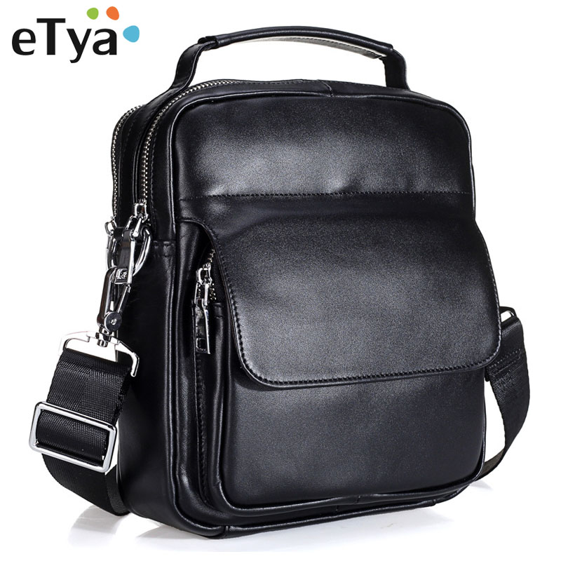 все цены на eTya Fashion Men Shoulder Bags Male Crossbody Bags High Quality Genuine Leather Business Men's Travel Tote Casual Messenger Bag