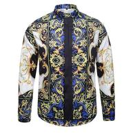 2016 Stylish Men Shirt Luxury Brand Designer Ink Butterfly Print Floral Shirts Men Long Sleeve Cotton
