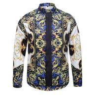 2016 Elegante Camisa Dos Homens Designer de Marca de Luxo Borboleta Tinta de Impressão Floral Camisas Men Manga Comprida de Algodão Slim Fit Camisas de Vestido
