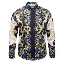 2016 Stylish Men Shirt Luxury Brand Designer Ink Butterfly Print Floral Shirts Men Long Sleeve Cotton Slim Fit Dress Shirts