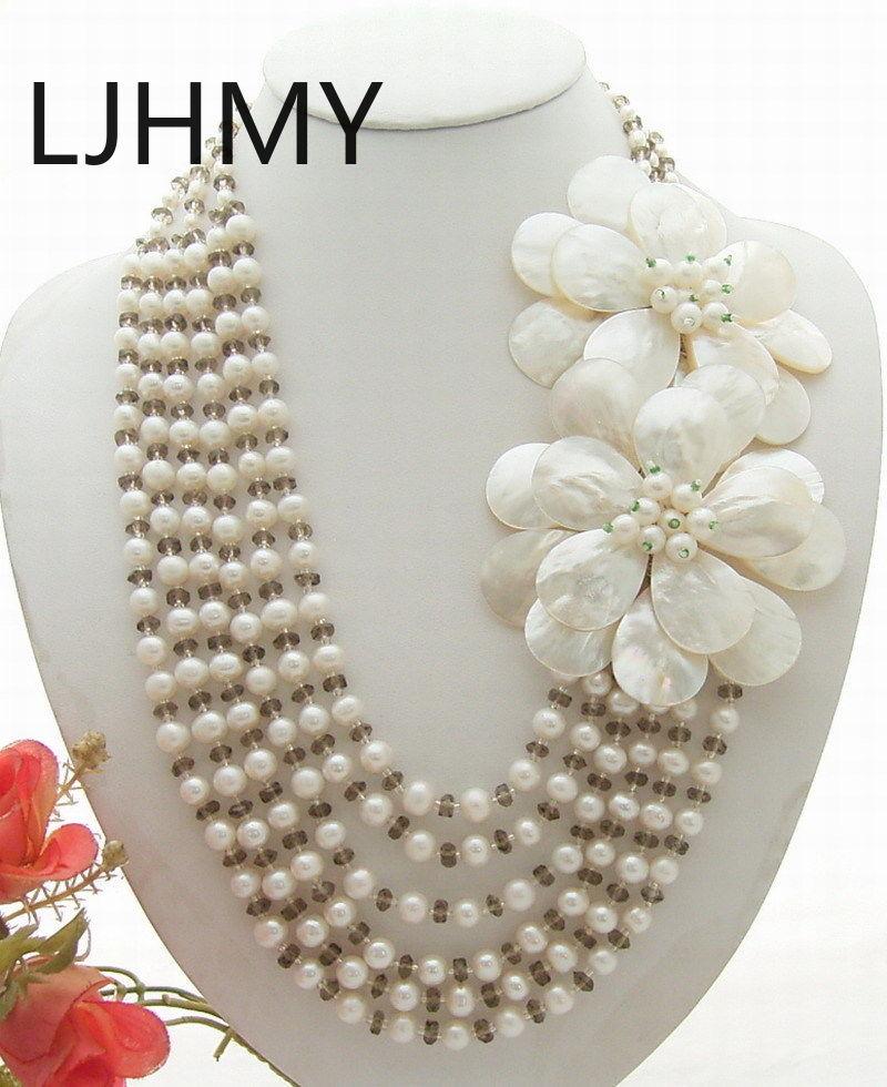 LJHMY blanc perle cristal coquille fleur déclaration collier femmes de mariage collier cadeau pour soirée robe bijoux