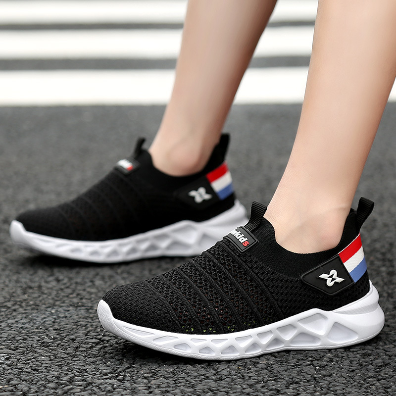 2019 New Flying Woven One Foot Children's Shoes Shock Absorption Wear Resistant Anti Skid Shoes Fashion Wild Youth Sports Shoes