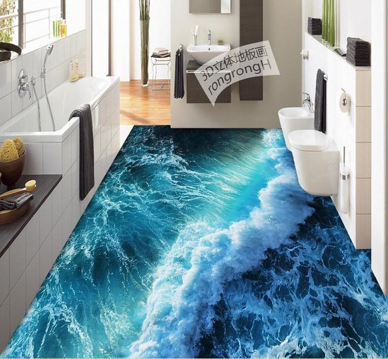 3d Flooring Waterproof Mural Wallpape Summer Waves 3d
