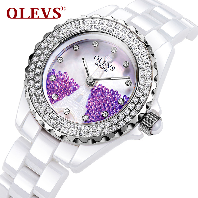 OLEVS Simple Ceramic Quartz Watches Luminous Needle Wrist Ladies Watch Gorgeous Double Rhinestone Dial Quartz Women Watches L142 fashion minimalism ladies women rhinestone watch golden ceramic wrist watches items 1oey k882