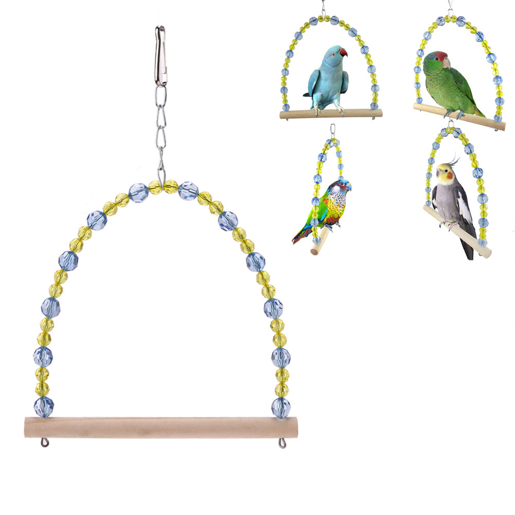Plastic Alloy Parrot Toys Crystal Beads Cage Hanging Toys for Parrots Cooktail Bird Blocks Standing Swing Toy Pet Bird Supplies ...