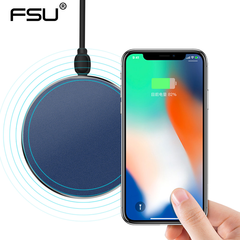 10W Fast Qi Wireless Charger for iPhone X 8 Plus Wireless Charging Pad for Samsung S9 Charging Base Transmitter Round For Phone