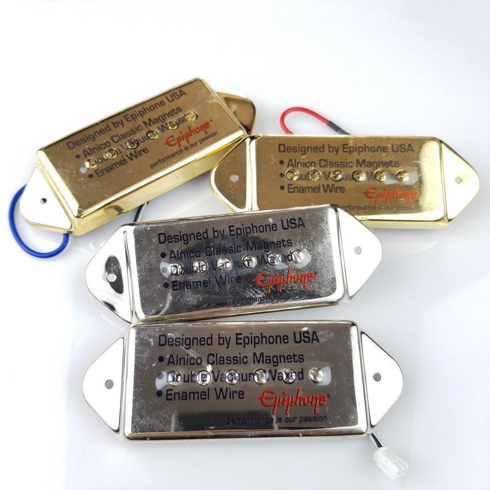 1 Unidades Epi pastillas guitarra de Jazz de pastillas de P90 pastillas guitarra eléctrica de Humbucker cromo de plata de oro