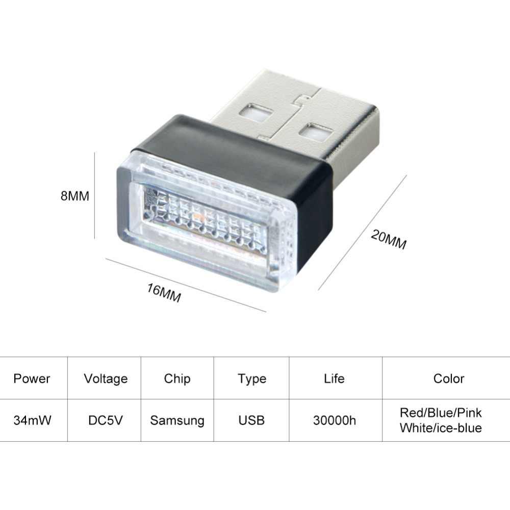 Auto LED Atmosphere Light Bulb USB Socket Interior Decorative Lamp RGB Emergency Lighting Fit For PC Laptop Computer Power Bank