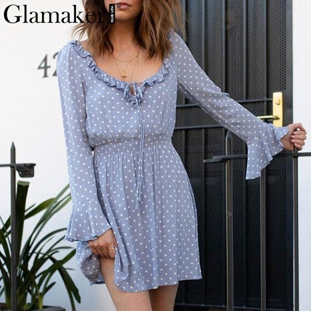 Glamaker Sexy ruffle v-neck polka dot dresses Women summer long sleeve loose short dress Female lace up streetwear dress vintage
