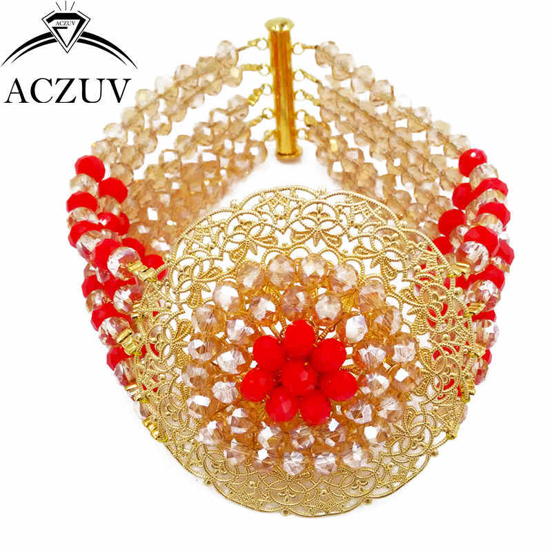 ACZUV Brand Gold AB and Opaque Red African Jewelry Set 2017 Nigerian Wedding Beads Necklace Jewellery A10R018