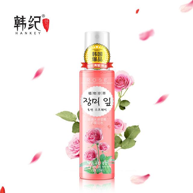 2017 nuevos auténtico hankey cuidado facial hidratante unisex cuidado de la piel spray aerosol líquido de control de aceite de esencia de rosa belleza eterna