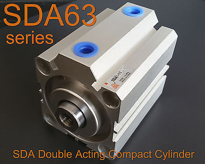 High Quality SDA63x60 Pneumatic SDA63-60mm Double Acting Compact AIR Cylinder high quality double acting pneumatic gripper mhy2 25d smc type 180 degree angular style air cylinder aluminium clamps
