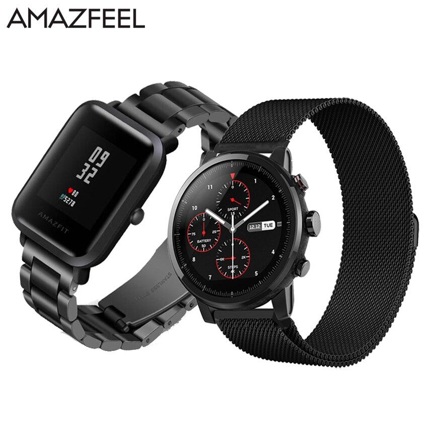 AMAZFEEL 20mm Amazfit Peu Bip Montre Bracelet En Acier Inoxydable 22mm Bracelet pour Xiaomi Huami Amazfit Stratos 2 Amazfit rythme Bande